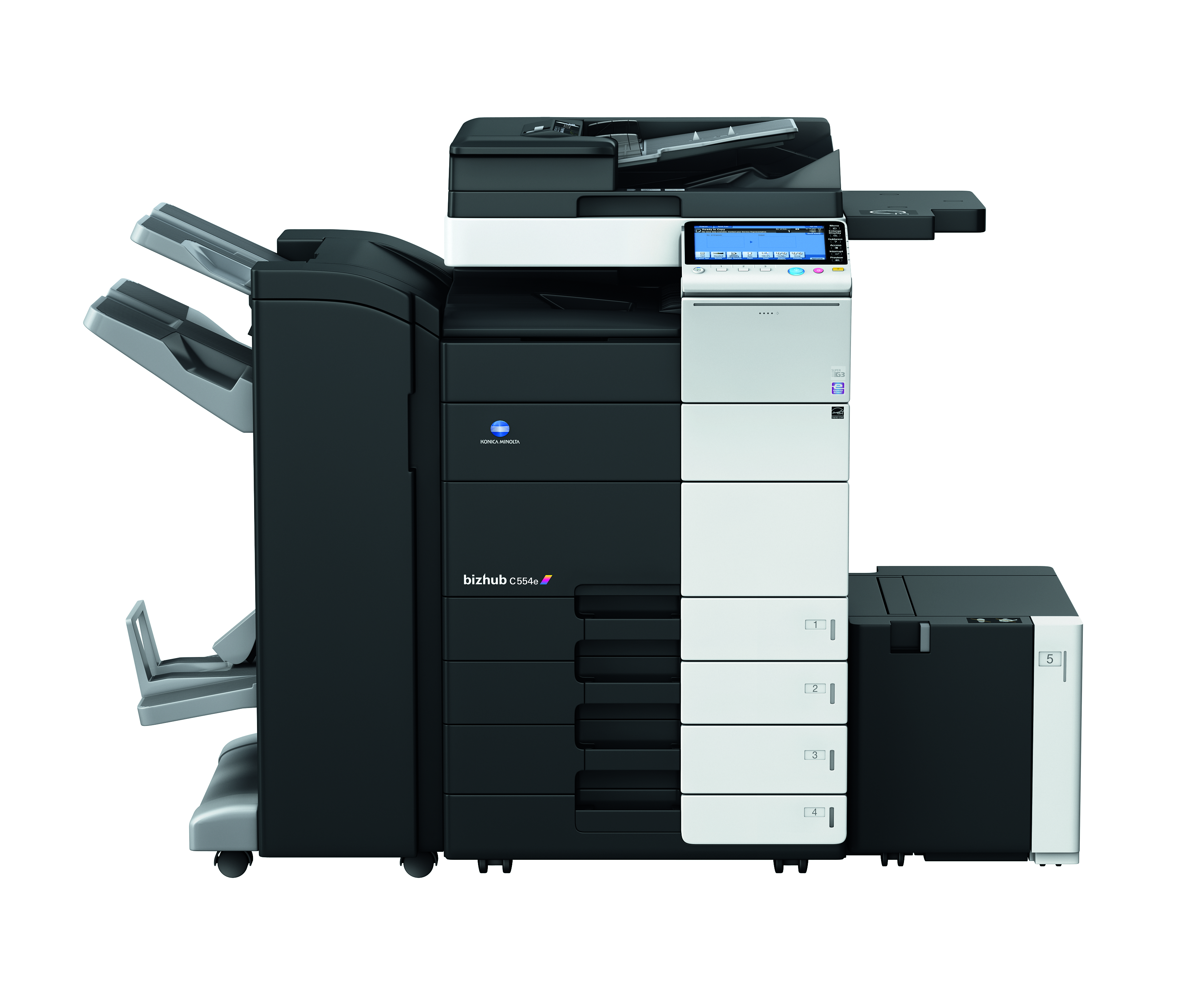 The new bizhub 554e series is designed for speed and productivity,  black-and-white printing, and come packed with capabilities.