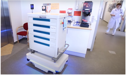 Quiet and safe AMR for autonomous delivery at a community hospital.